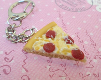 Kawaii Pepperoni Pizza Keychain, Polymer Clay Food Jewelry