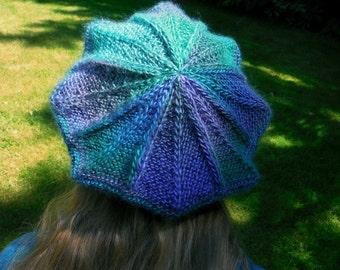 Large Victoria Tam Handknit Blue Green Teal Purple Jewel Tones