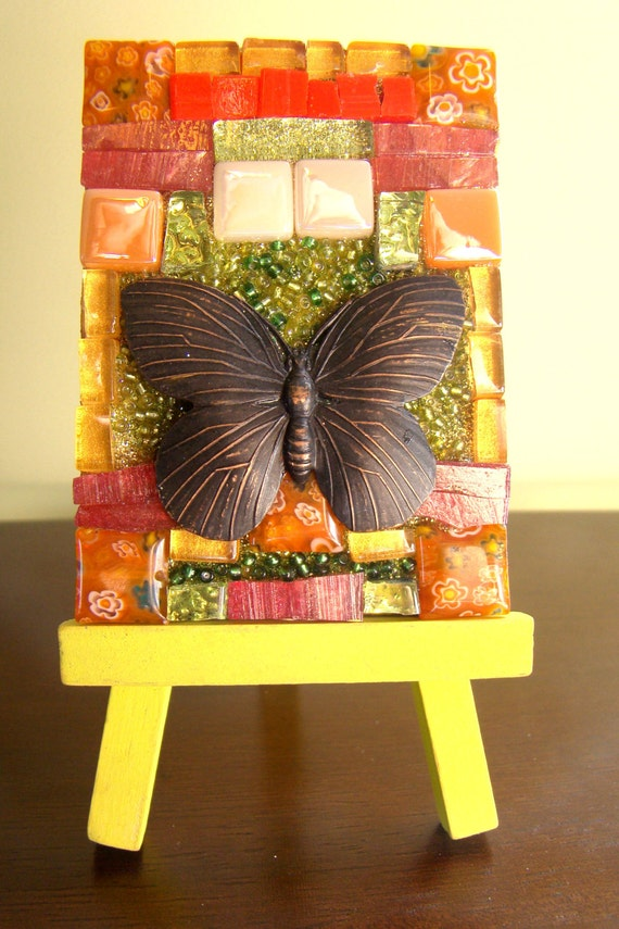 Original Mosaic Art Butterfly Shrine with Display Easel