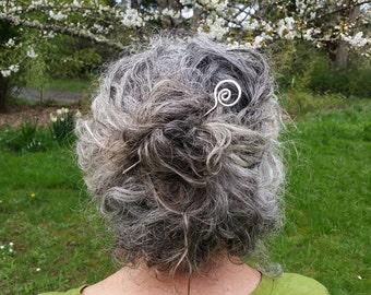 Open Spiral Sterling Silver Hair Stick, Metal Shawl Stick, Hair Pin, Bun Holder, Scarf Pin, Long Hair Accessories, Women Knitting