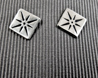 Compass Studs - Sterling Silver Post Earrings - North Star - Guiding Light