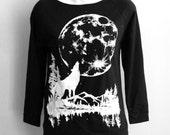Sale M,L, or XL Black Raw-Edge 3/4-Sleeve Raglan with Moon Wolf Screen Print
