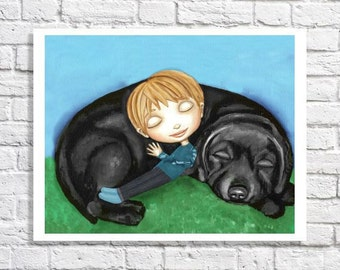 Baby Boy Wall Decor Dog Nursery Art Chocolate Lab Art Picture Little Boy Black Labrador Retriver Artwork Boy Bedroom Decor Painting Print