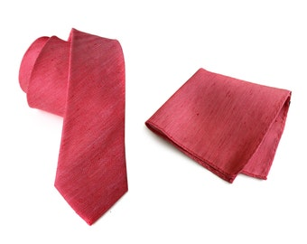 "Red linen necktie. Silk & linen blend men's tie, herringbone weave. ""Rouge."" Bias cut, rustic necktie. Pocket squares available too!"