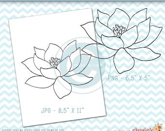 Lotus Flower Digi Stamp   PNG and JPG Files   Lotus Flower Coloring Page   Lotus Flower Printable   Lotus Flower Clip Art   Digital Download