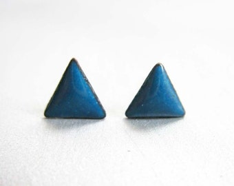 Tiny Triangle Stud Post Earrings, Peacock Teal Blue Kiln-fired Glass Enamel and Sterling Silver, 24 Custom Colors Available