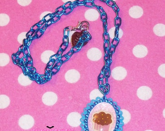 Aqua Blue and Pink Kawaii Cupcake Cameo Necklace