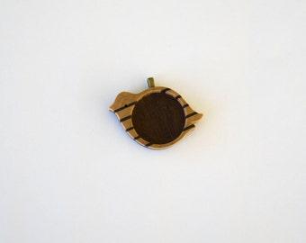 "Marquetry Work Hardwood Pendant Blank - Maple and Walnut - 1"" - 25.5 mm - Circle - Brass Bail - (X12-X)"