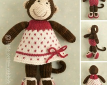 Knitted Toy knitting pattern for a girl monkey with a spotted dress