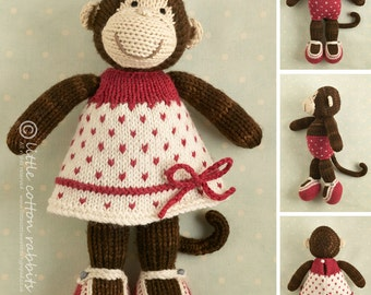 Toy knitting pattern for a girl monkey with a spotted dress