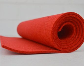 """Red Industrial Elite Pure Wool Felt 3mm thick 12""""x36"""""""