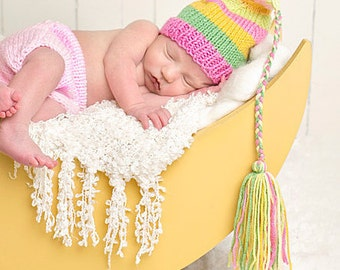 Newborn Baby Girl Hat Knit BaBY PHoTO PRoP Pink Yellow Green Stripe BeANiE Summer FCN Long Tassel Cap TaKE HoME Pick Color Pretty Girl Toque