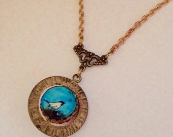 Mother bird Spinner Necklace//  bird in nest - Solid Brass chain  - Spinner - Whimsical Gift for Her under 40 - under 50