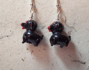 Black Glass Puppy Dog Earrings Silver What a Hoot Yip Yip