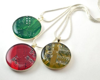 Circuit Board Necklaces set of 3 for Stocking Stuffers READY TO SHIP