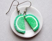 Gummy Lime Fruit Slice Candy Earrings - polymer clay miniature food jewelry