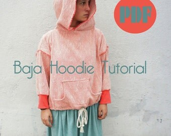 Baja hoodie,sweatshirt tutorial- Make your own pattern