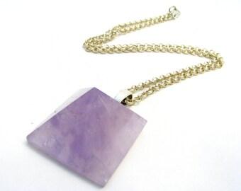 "Fluorite Pyramid Necklace - Semi Precious Lavender Gemstone Pendant, 20"" Silver Chain, Super Cool Metaphysical Jewelry"