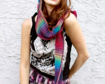 Rainbow Gemstone Prism Scoofie - Rich Colorful Ombre Crocheted Hooded Scarf With Pockets - Soft Vegan Acrylic Faux Wool Yarn - Made To Order