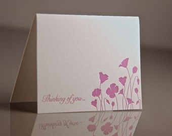 Letterpress Poppies Sympathy Card