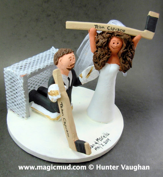 hockey player wedding cake topper goalie groom wedding cake topper hockey and groom 15259