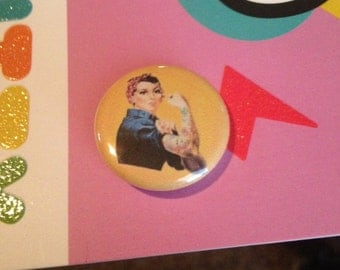 TATTOOED Rosie The Riveter 1 Inch Pin