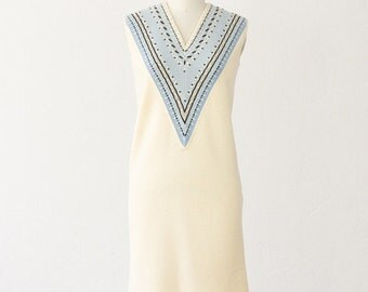 Vintage 1960s Cream with Blue Knit Shift Dress