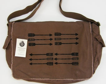 Arrows Messenger Bag, Screen Printed Cotton Canvas Messenger Bag, Mens Messenger Bag, Computer Bag,  Rustic Day Bag