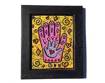 Mother's Love Hamsa Wall Art - Original Mixed Media Hamsa Painting - New Baby or Mom Gift - Hand Art, Judaica, Jewish Art by Claudine Intner