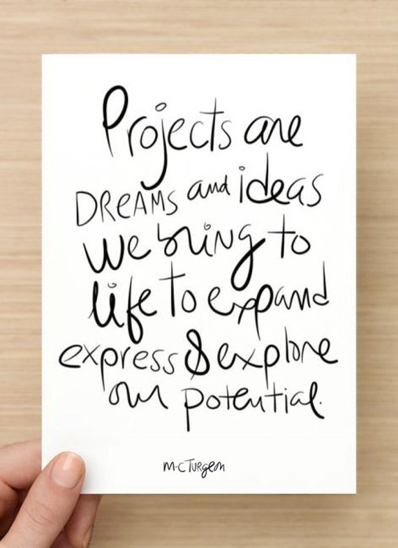 Projects are dreams and ideas we bring to life to expand, express and explore our potential - 5 postcards set