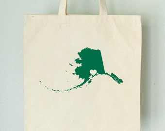 SALE Alaska LOVE Tote Anchorage GREEN state silhouette with heart on natural bag