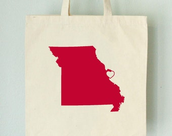 SALE Missouri LOVE Tote St. LOUIS red state silhouette with heart on natural bag