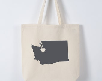 WASHINGTON LOVE eco TOTE Seattle charcoal state silhouette heart on natural bag