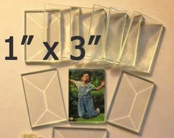 Long Stix 1 x 3 inch Clear BEVELED Glass Flat On Back for Jewelry Solder Art ... 10 pack OF 1 x 3 Perfect for Collage Pieces or Pendants