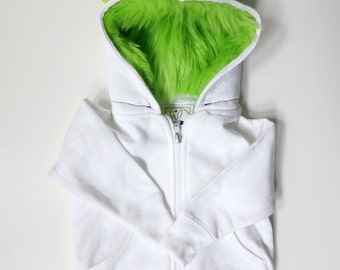 Baby Monster Hoodie - White with lime green  - 18 months  -  monster hoodie, horned sweatshirt, infant jacket, great baby gift