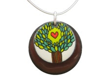 Tree of Life Necklace - Off White and Chocolate Brown Pendant with Tree Drawing - Enamel Tree Necklace