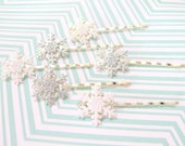Glittering Snowflakes v.2 - Individual Snowflake Hair Pin, Perfect Stocking Stuffer, Secret Santa Gift, Great for Frozen Fans, Winter