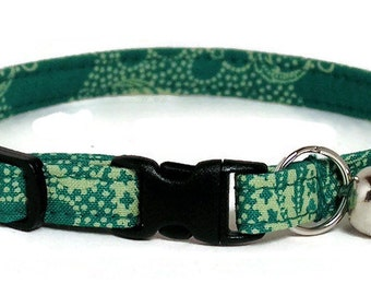 Cat Collar - Fancy Green - Breakaway Safety Cute Fancy Cat Kitten Collar