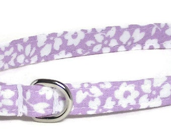 XS Dog Collar - White Flowers on Pale Purple - Size Extra Small Miniature Teacup - Cute, Pretty and Fancy