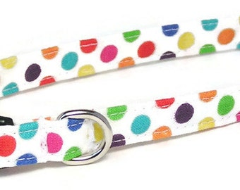 XS Dog Collar - Rainbow Dots - Extra Small, Teacup, Miniature - Fancy, Soft and Handmade