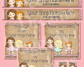 Etsy Banner Set - Premade Etsy Banner - Etsy Shop Banner - SHOP ICON - Shop Profile Photo - Cute Little Girls - Raggedy Dreams Shop Design