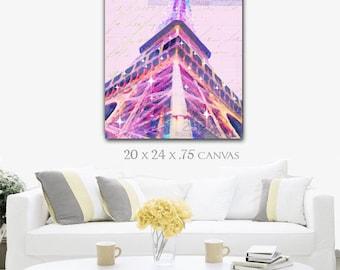 Pink Paris Painting Print Large, Eiffel Tower Art Pink Canvas Wall Art, Pink Paris Decor, Paris Postcard