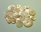 Vintage Button Lot - 28 shell buttons, large buttons, matching buttons, vintage button destash lot, sewing supplies, vintage sewing destash