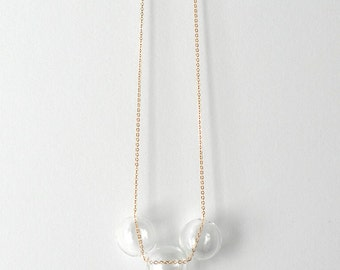 Delicate Orbs Necklace Hand Blown Glass Beads with Gold Chain // Perfect Holiday Gift for Someone Special