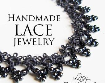 Beaded Lace Necklace, Collar Choker, Elegant Black Jewelry, Gift Wife, Evening, Dressy, Fancy, Filigree, Vintage, Dainty, Feminine, Princess