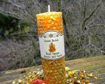 Road Opener Rolled Beeswax Spell Candle - Clear Away Obstacles, Open Paths to New Opportunities, Offering to Lord Ganesh, Removing Blocks