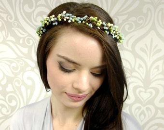 Boho Headband, Ocean Breeze Berry Crown, Bridal Crown, Bridal Hair, Ocean Blue and Green Berry Crown, Flower Girl Crown, Bridesmaid Hair