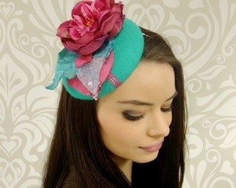 Fuchsia and Teal Pillbox Hat, Teal Button Hat, Kentucky Derby Hat, Cocktail Hat, Percher Hat, Wedding Hat, Derby, Races, Ready to Ship