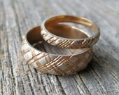 Plaid wedding ring yellow or rose gold 2 tone ring rustic band 14kt gold plated sterling silver SET