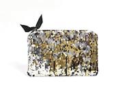 Sequin Clutch. Gold Clutch. Silver Clutch. Holiday Clutch. New Year's Eve. Makeup Bag. Wedding Clutch. Black Tie. Sparkle. Metallic Clutch.
